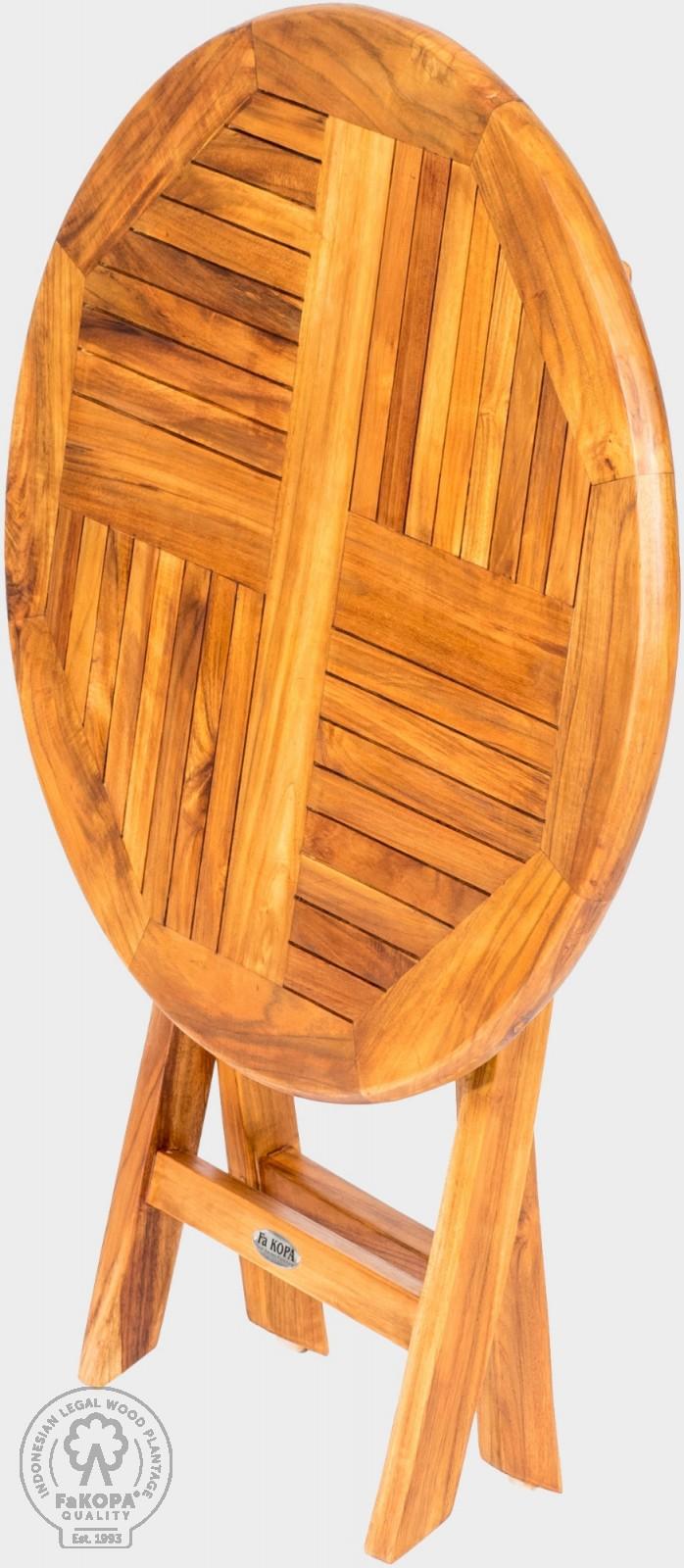 skládací stůl kulatý z teaku