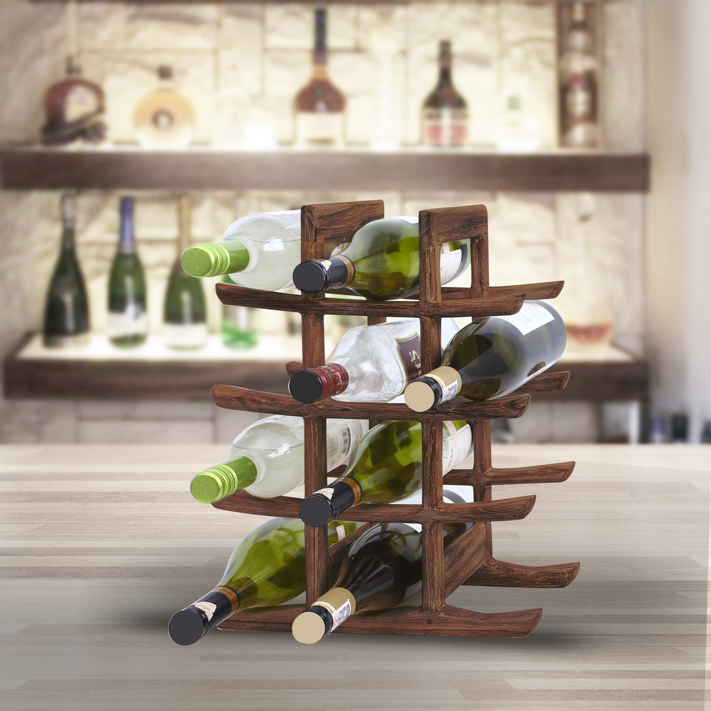 Stojan na víno z teakového dřeva